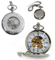 Ornate Rear Hand Wind Skeleton Pocket Watch